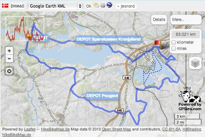 Cykling parts race 60 km rute