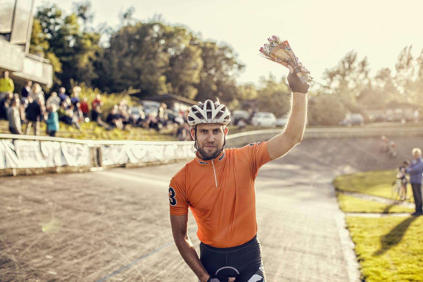Patrick Kos vinder linjeløbet til Kay Werners Mindeløb 2014 © Photo: Uggi Kaldan // AltomCykling.dk