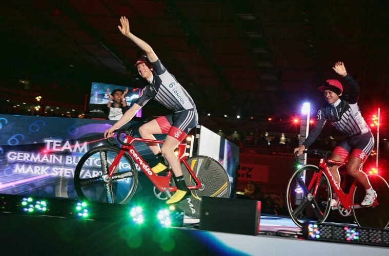 Germain Burton and Mark Stewart introduced to the crowd at Lee Valley Velodrome on Thursday night. They went on to win races - see Sixday.com for the results - Foto © Brian Townsley
